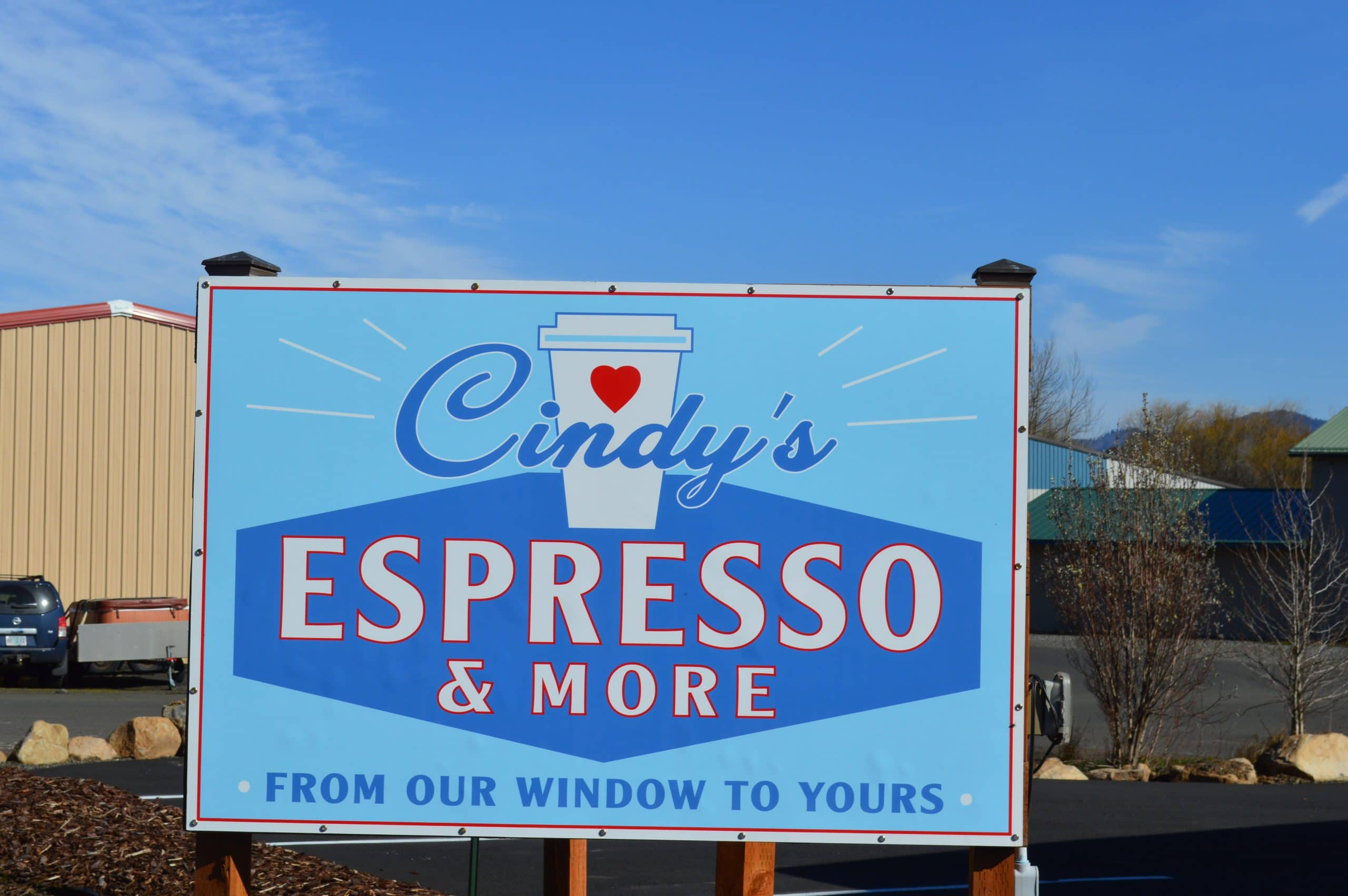 Cindys Espresso and More Street Sign Hood River
